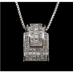3.36 ctw Diamond Pendant With Chain - 18KT White Gold