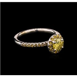0.92 ctw Yellow Diamond Ring - 14KT White Gold