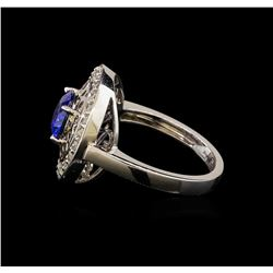 2.19 ctw Sapphire and Diamond Ring - 14KT White Gold