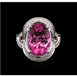 7.45 ctw Pink Topaz and Diamond Ring - 14KT White Gold