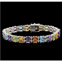 24.00 ctw Multi Gemstone and Diamond Bracelet - 14KT White Gold