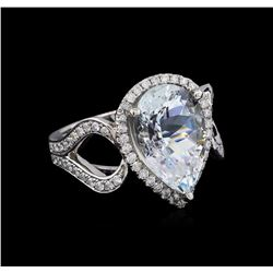 5.77 ctw Aquamarine and Diamond Ring - 14KT White Gold
