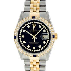Rolex Two-Tone VVS Diamond and Sapphire DateJust Men's Watch