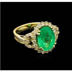 4.80 ctw Emerald and Diamond Ring - 14KT Yellow Gold