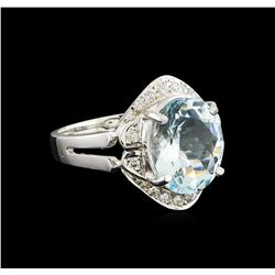 3.85 ctw Aquamarine and Diamond Ring - 14KT White Gold