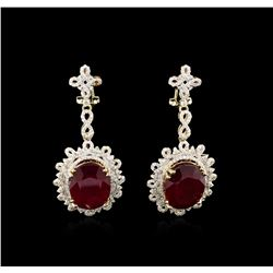 23.42 ctw Ruby and Diamond Earrings - 14KT Yellow Gold