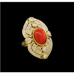 14KT Yellow Gold 4.40 ctw Coral and Diamond Ring