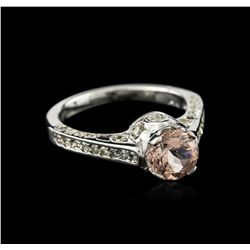 14KT White Gold 1.13 ctw Morganite and Diamond Ring