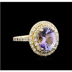 4.03 ctw Tanzanite and Diamond Ring - 14KT Yellow Gold
