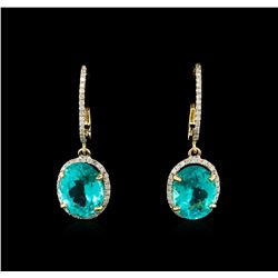 7.95 ctw Apatite and Diamond Earrings - 14KT Yellow Gold
