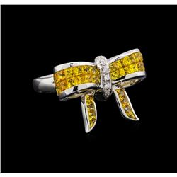 1.92 ctw Yellow Sapphire and Diamond Ring - 18KT White Gold