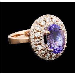 3.75 ctw Tanzanite and Diamond Ring - 14KT Rose Gold