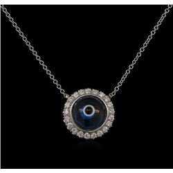 0.25 ctw Diamond Evil Eye Necklace - 14KT White Gold