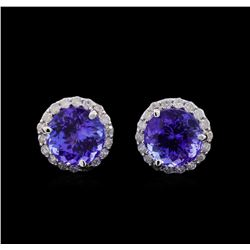 4.00 ctw Tanzanite and Diamond Earrings - 14KT White Gold