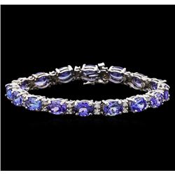 22.58 ctw Tanzanite and Diamond Bracelet - 14KT White Gold