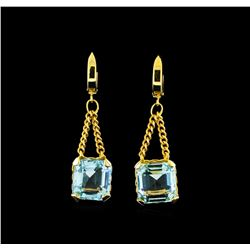 14.83 ctw Aquamarine Earrings - 14KT Yellow Gold