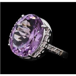 9.25 ctw Lavender Quartz and Diamond Ring - 18KT White Gold