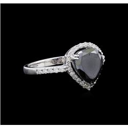 2.62 ctw Black Diamond Ring - 14KT White Gold