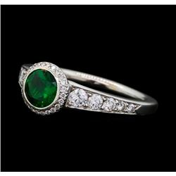 0.90 ctw Tsavorite and Diamond Ring - 18KT White Gold