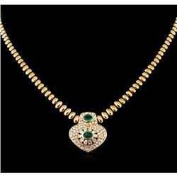 1.52 ctw Emerald and Diamond Necklace - 14KT Yellow Gold