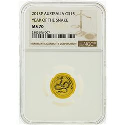 2013-P NGC MS70 Australia $15 Year of the Snake Gold Coin