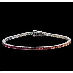 7.15 ctw Multi Color Sapphire and Diamond Bracelet - 14KT White Gold