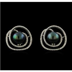 Tahitian Pearl and Diamond Earrings - 14KT White Gold