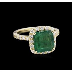 2.71 ctw Emerald and Diamond Ring - 14KT Yellow Gold