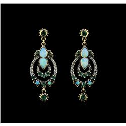 1.40 ctw Opal, Emerald and Diamond Earrings - 18KT Yellow Gold