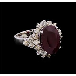 14KT White Gold 11.87 ctw Ruby and Diamond Ring