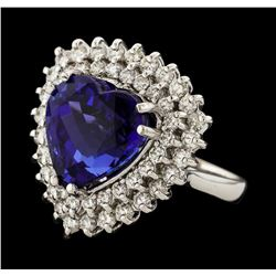 10.67 ctw Tanzanite and Diamond Ring - 14KT White Gold