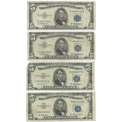 1953 $5 Silver Certificate Currency Lot of 4