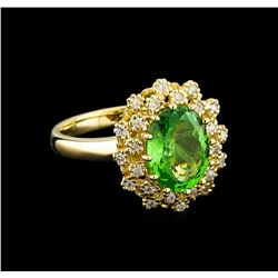 2.88 ctw Tsavorite and Diamond Ring - 14KT Yellow Gold