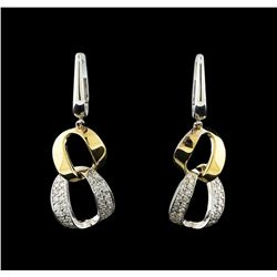 0.57 ctw Diamond Earrings - 14KT White and Yellow