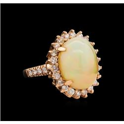 7.57 ctw Opal and Diamond Ring - 14KT Rose Gold