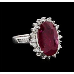 GIA Cert 5.16 ctw Ruby and Diamond Ring - 14KT White Gold
