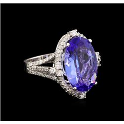 10.18 ctw Tanzanite and Diamond Ring - 14KT White Gold