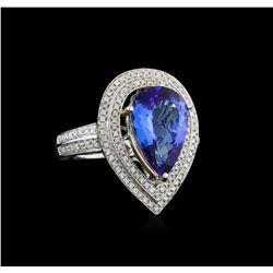 14KT Two-Tone Gold 4.23 ctw Tanzanite and Diamond Ring