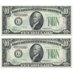 1934A $10 Consecutive Pair Federal Reserve Notes