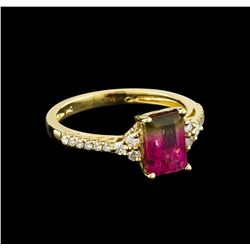 1.57 ctw Tourmaline and Diamond Ring - 14KT Yellow Gold