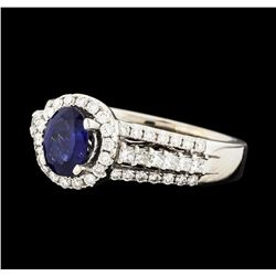 0.90 ctw Sapphire and Diamond Ring - 14KT White Gold
