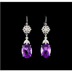 9.17 ctw Amethyst and Diamond Earrings - 14KT White Gold