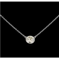 1.08 ctw Diamond Pendant With Chain - 14KT White Gold