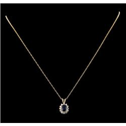 0.88 ctw Sapphire and Diamond Pendant - 14KT Yellow Gold