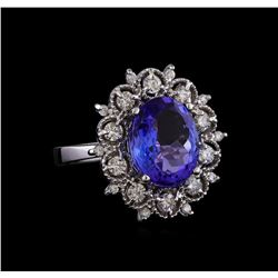 5.50 ctw Tanzanite and Diamond Ring - 14KT White Gold