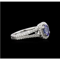 0.90 ctw Tanzanite and Diamond Ring - 18KT White Gold