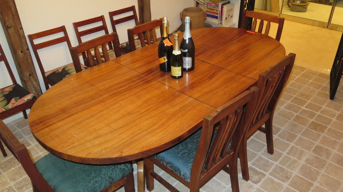 Image 1 : Large Koa Table And Chairs   Has Removable Leaf   7 Ft. ...