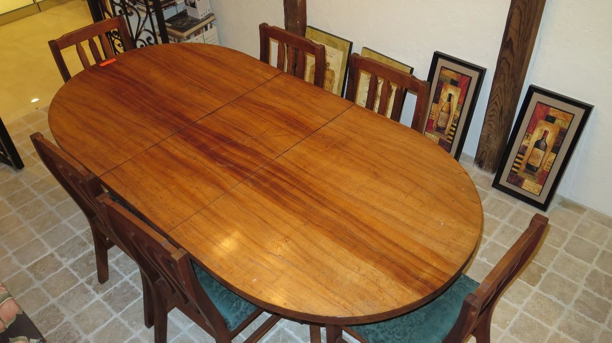 ... Image 2 : Large Koa Table And Chairs   Has Removable Leaf   7 Ft. ...