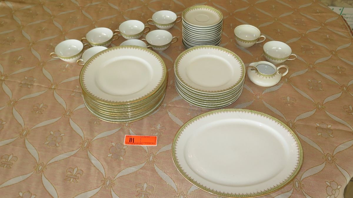 Limoges France Fine China Dinnerware Set w/Gilt Celery Border - Plates Platter Teacups etc. & Limoges France Fine China Dinnerware Set w/Gilt Celery Border ...
