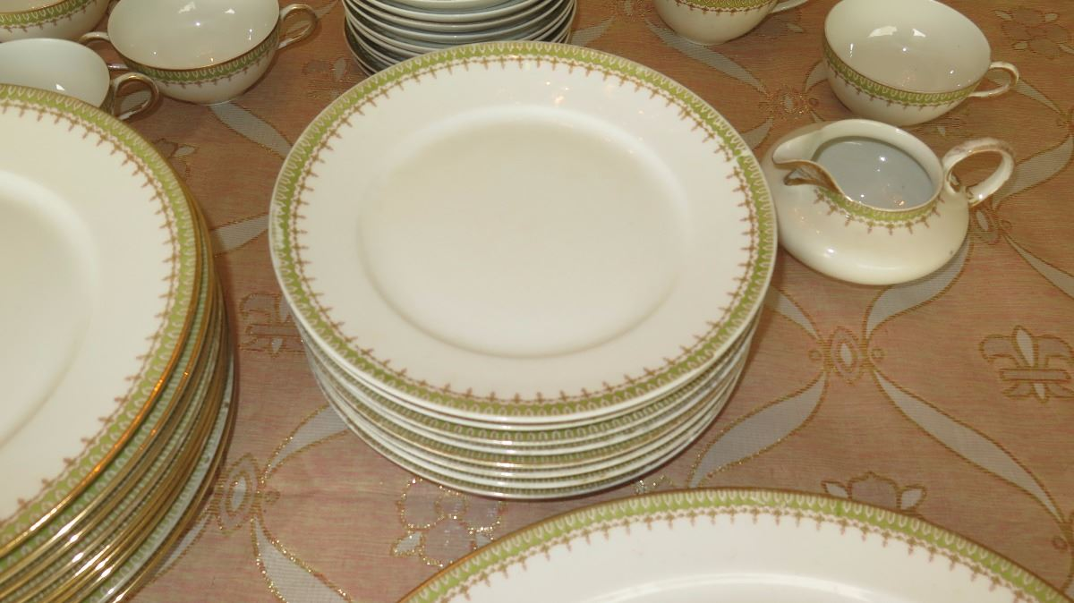 ... Image 4  Limoges France Fine China Dinnerware Set w/Gilt Celery Border - Plates ... & Limoges France Fine China Dinnerware Set w/Gilt Celery Border ...
